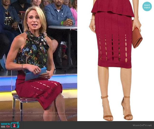 Cutout Stretch-Knit Skirt by Cushnie et Ochs worn by Amy Robach on Good Morning America