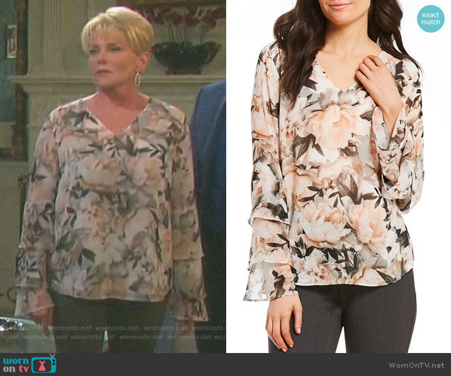 Floral Print Chiffon V-Neck Tiered Ruffle Sleeve Blouse by Calvin Klein worn by Adrienne Johnson Kiriakis (Judi Evans) on Days of our Lives