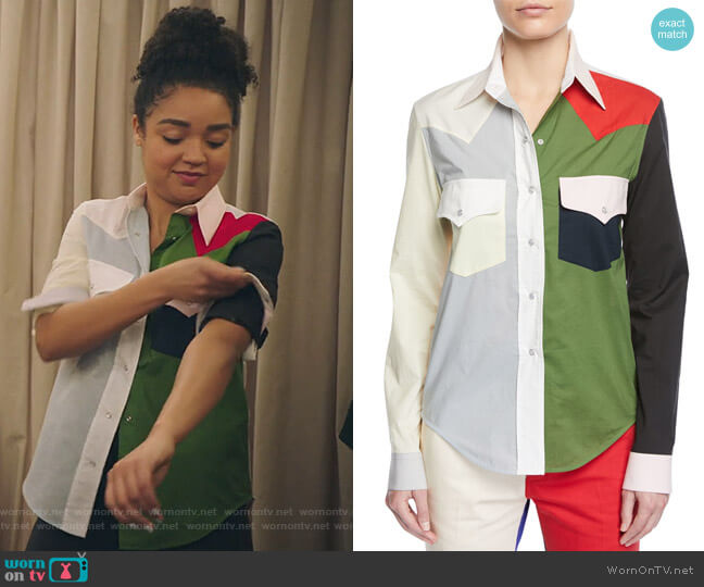 Colorblock Button-Down Long-Sleeve Cotton Western Shirt by Calvin Klein worn by Kat Edison (Aisha Dee) on The Bold Type