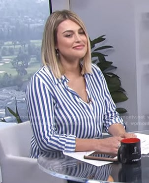 Carissa's blue striped shirt on E! News Daily Pop