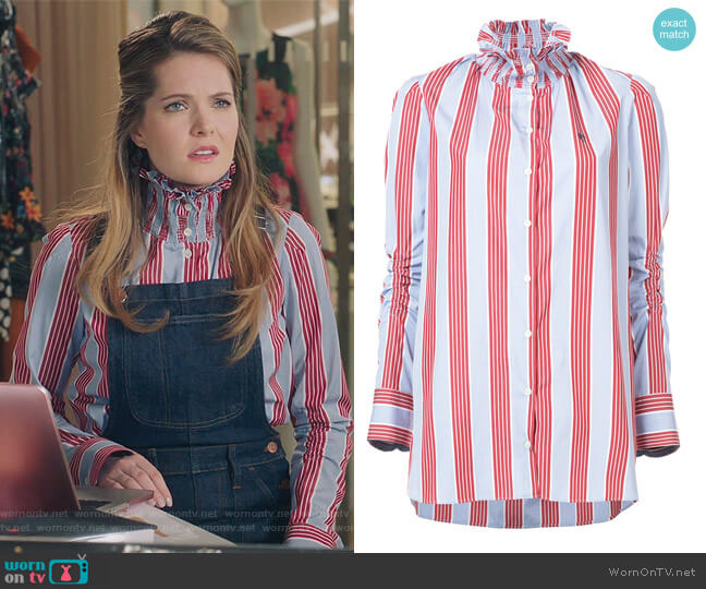 Striped High Neck Blouse by Carven worn by Sutton (Meghann Fahy) on The Bold Type