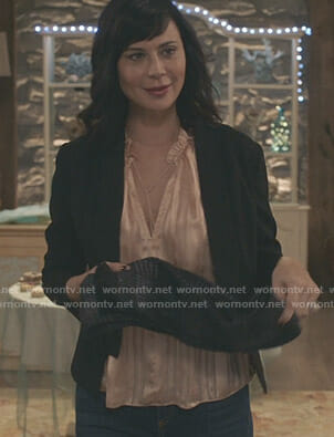 Cassie's pink striped top on Good Witch
