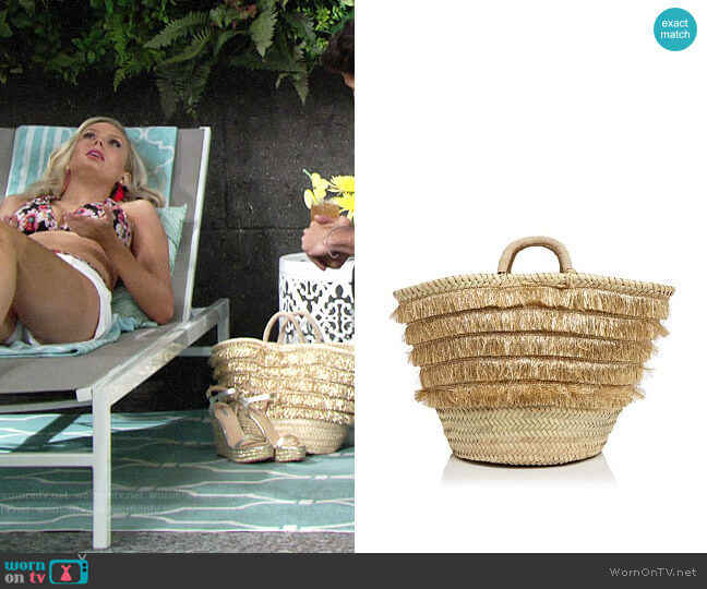 Caterina Bertini Metallic Fringe Straw Tote worn by Melissa Ordway on The Young & the Restless