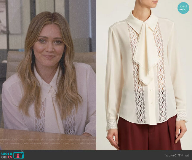 Lace-Insert Tie-Neck Blouse by Chloe worn by Kelsey Peters (Hilary Duff) on Younger