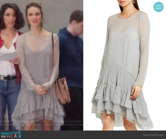 Tiered ruffled silk-mousseline dress by Chloe worn by Phoebe Wells (Beau Garrett) on GG2D