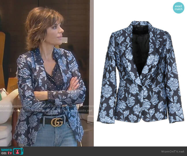 Floral Blazer by Christian Pellizzari worn by Lisa Rinna (Lisa Rinna) on The Real Housewives of Beverly Hills