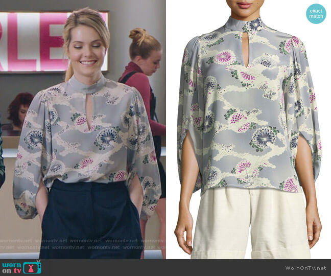 Mock-Neck Silk Kimono Blouse by Co worn by Sutton (Meghann Fahy) on The Bold Type