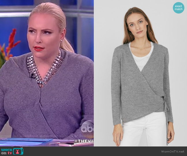Merino Cashmere Wrap Cardigan by Cuyana worn by Meghan McCain on The View
