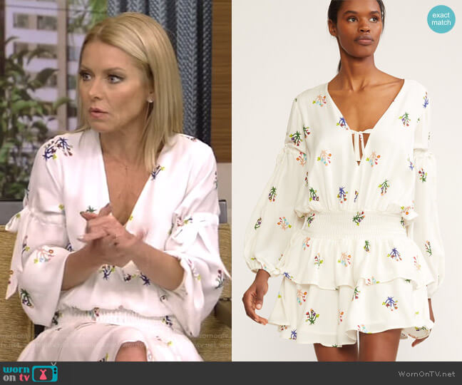 'Celia' Smocked Waist Mini Dress by Cynthia Rowley worn by Kelly Ripa on Live with Kelly & Ryan