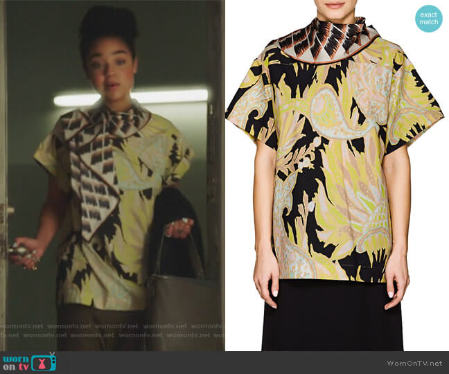Scarf-Neck Abstract-Print Cotton Poplin Blouse by Dries Van Noten worn by Aisha Dee on The Bold Type