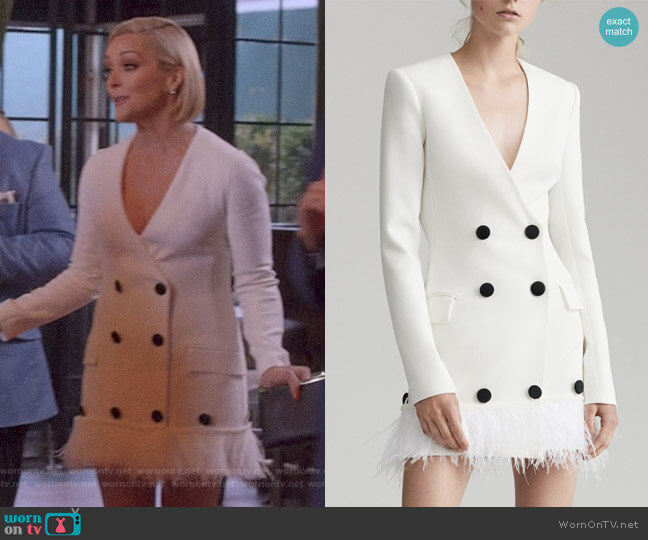 Tailored Feather Dress by David Koma worn by Jane Krakowski on Unbreakable Kimmy Schmidt