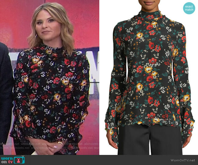 Mock-Neck Floral-Print Silk Blouse by Derek Lam worn by Jenna Bush Hager on Today
