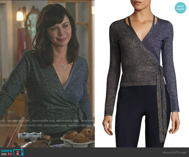 Lurex Wrap Cardigan by Diane von Furstenberg worn by Catherine Bell on Good Witch