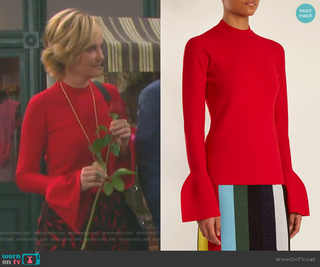 Bell-Cuff Stretch-Knit Sweater by Diane von Furstenberg worn by Eve Donovan (Kassie DePaiva) on Days of our Lives