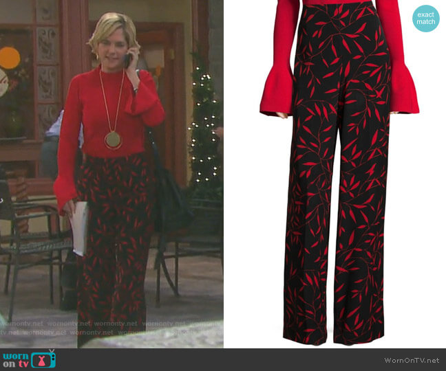 Benton Printed Wide-Leg Pants by Diane von Furstenberg worn by Eve Donovan (Kassie DePaiva) on Days of our Lives