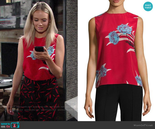 Diane von Furstenberg Colorblock Floral Print Shell worn by Abby Newman (Melissa Ordway) on The Young & the Restless