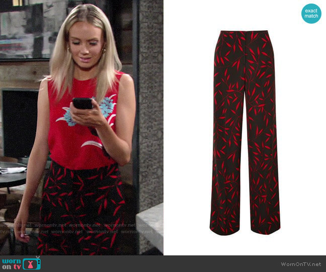 Diane von Furstenberg Floral Print Wide Leg Pants worn by Abby Newman (Melissa Ordway) on The Young & the Restless