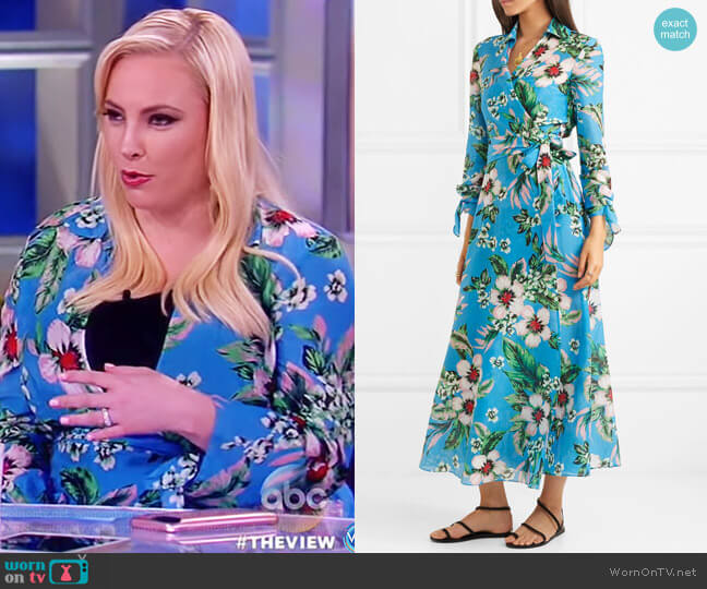 Floral Wrap Coverup Dress by Diane von Furstenberg worn by Meghan McCain on The View