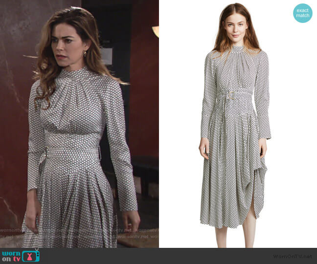 Diane von Furstenberg High Neck Halter Dress worn by Victoria Newman (Amelia Heinle) on The Young & the Restless