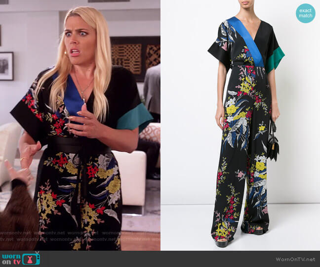 Floral-printed silk jumpsuit by Diane von Furstenberg worn by Busy Philipps on Unbreakable Kimmy Schmidt