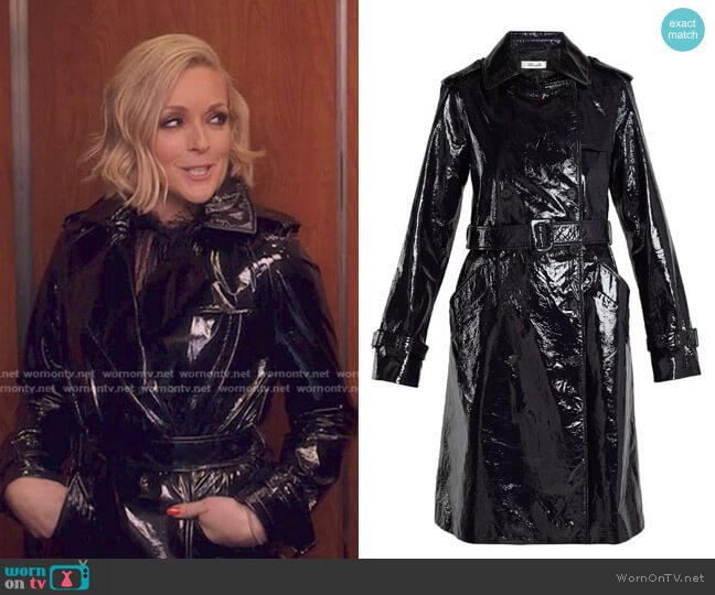 Double-Breasted Patent-Leather Trench Coat by Diane von Furstenberg worn by Jacqueline Voorhees (Jane Krakowski) on Unbreakable Kimmy Schmidt