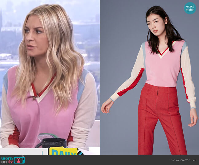 Long-Sleeve V-Neck Color Block Cotton Pull Over by Diane von Furstenberg worn by Morgan Stewart  on E! News