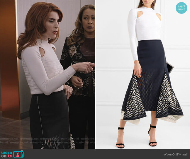 Ribbed stretch bodysuit by Cushnie Et Ochs and Neoprene cutouts skirt by Dion Lee worn by Kitty Montgomery (Julianna Margulies) on Dietland