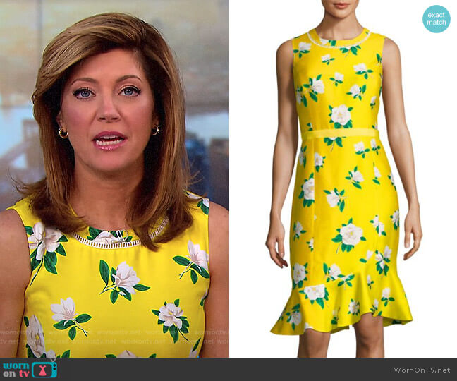 Magnolia Ruffle Shift Dress by Draper James worn by Norah O'Donnell on CBS This Morning