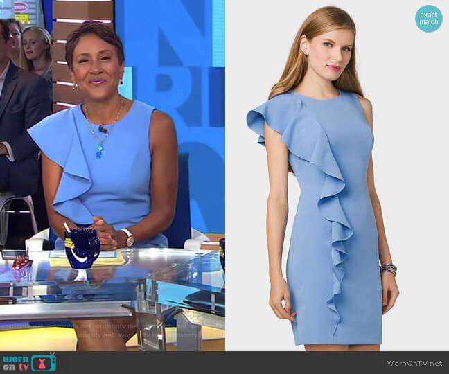 Ruffled-Shoulder Sheath Dress by Dressbarn worn by Robin Roberts on Good Morning America