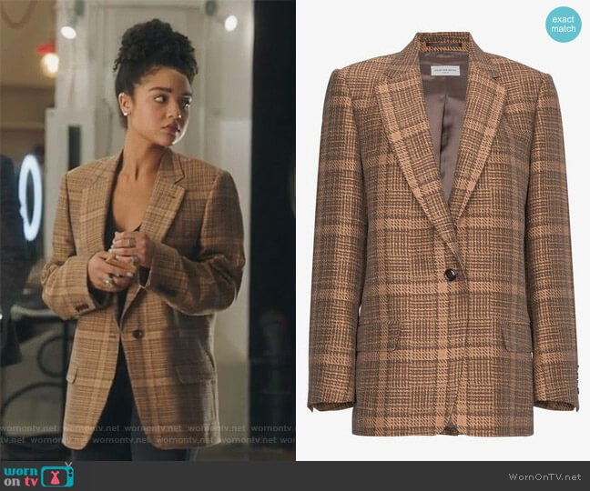 Single Breasted Check Jacket by Dries Van Noten worn by Aisha Dee on The Bold Type