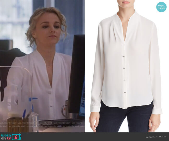 Bea Bar Silk Blouse by Elie Tahari worn by Lizzie Needham (Bojana Novakovic) on Instinct