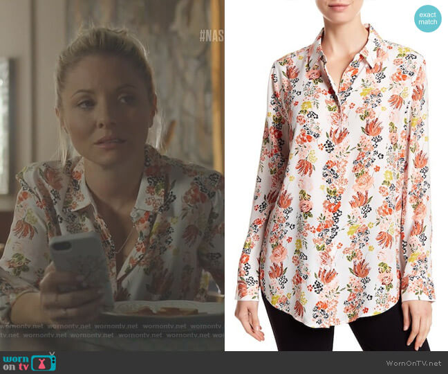 Essential Floral Silk Button Down Blouse by Equipment worn by Kaitlin Doubleday on Nashville