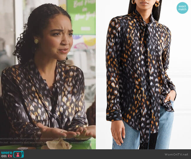 Essential pussy-bow leopard-print silk-georgette blouse by Equipment worn by Kat Edison (Aisha Dee) on The Bold Type