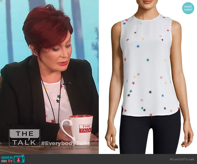 Lyle Print Silk Top by Equipment worn by Sharon Osbourne  on The Talk
