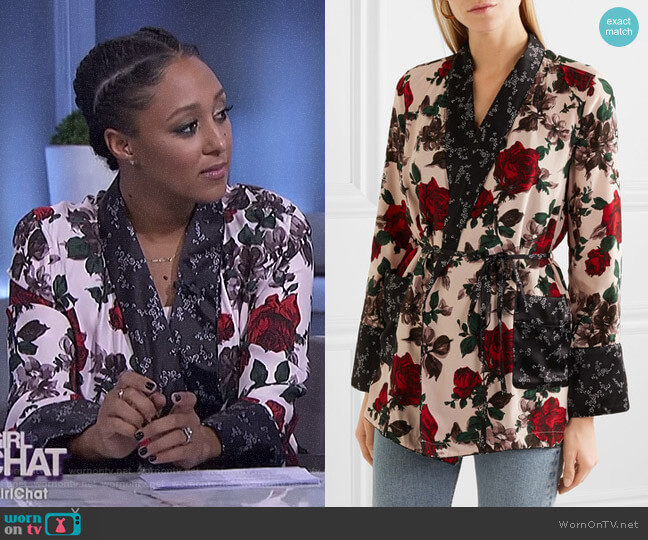'Theron' Robe by Equipment worn by Tamera Mowry on The Real