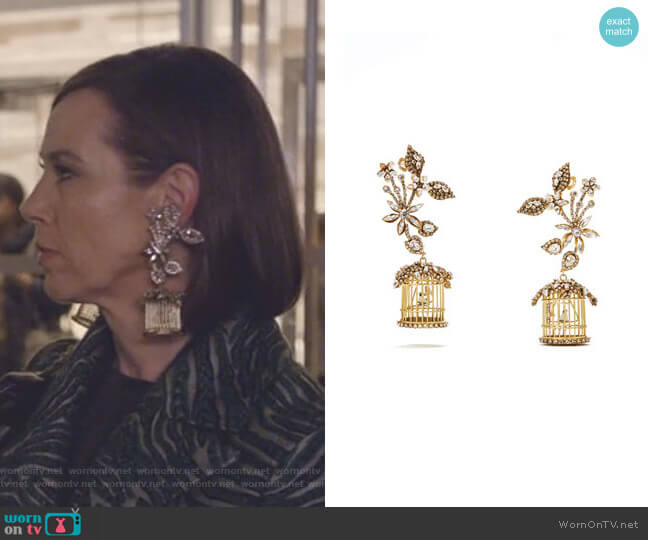 24k Swarovski Crystal Birdcage Earrings by Erickson Beamon worn by Diana Trout (Miriam Shor) on Younger