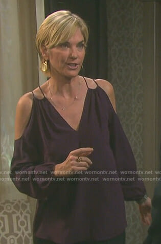 Eve's purple cold-shoulder top on Days of our Lives
