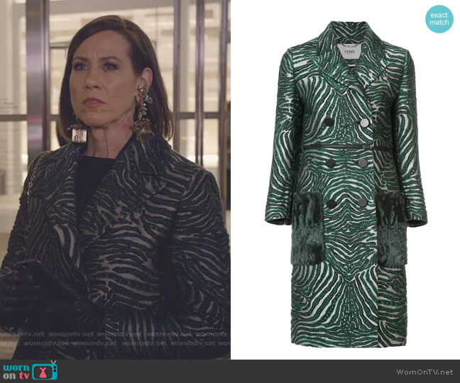Double Breasted Zebra Coat by Fendi worn by Diana Trout (Miriam Shor) on Younger