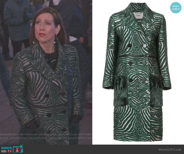 Double Breasted Zebra Coat by Fendi worn by Miriam Shor on Younger
