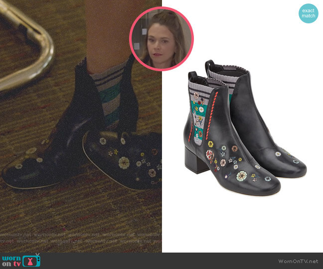 Floral Embroidered Boots by Fendi worn by Liza Miller (Sutton Foster) on Younger