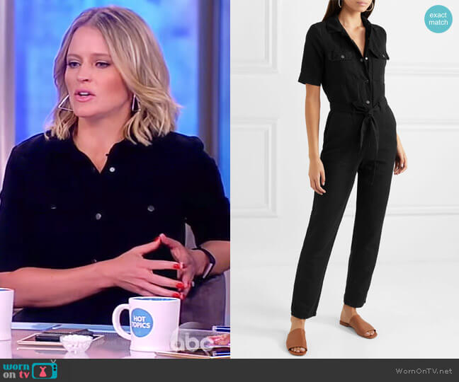 Short-Sleeve Button-Down Belted Straight-Leg Cotton-Linen Jumpsuit by Frame worn by Sara Haines  on The View