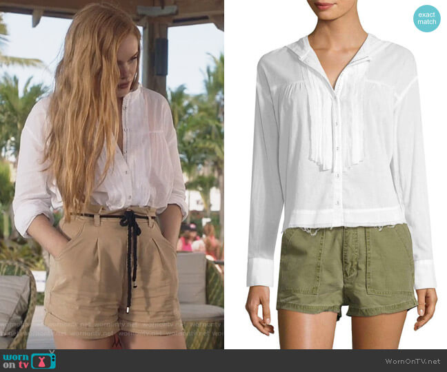 Breezy Pleated Shirt by Free People worn by Abigail Cowen on The Fosters