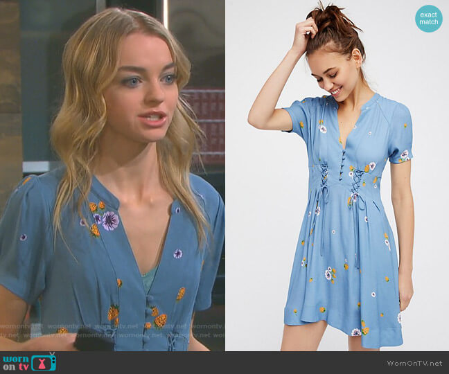 Dream Girl Mini Dress by Free People worn by Claire Brady (Olivia Rose Keegan) on Days of our Lives