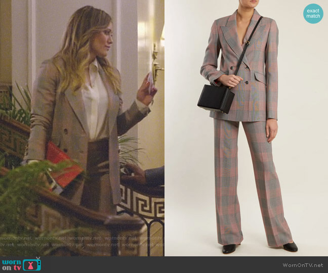 'Angela' Blazer and 'Vesta' Trousers by Gabriela Hearst worn by Kelsey Peters (Hilary Duff) on Younger