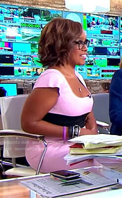 Gayle's pink colorblock dress on CBS This Morning