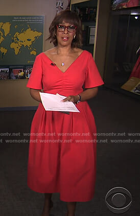 Gayle's red v-neck flared dress on CBS This Morning