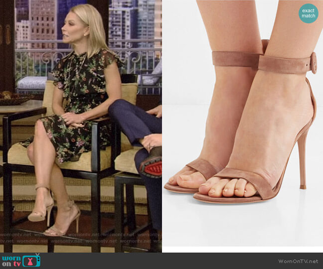 Portofino Suede Sandals by Gianvito Rossi worn by Kelly Ripa on Live with Kelly & Ryan