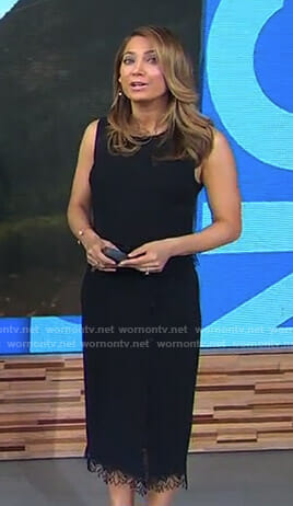 Ginger's black lace trimmed top and skirt on Good Morning America