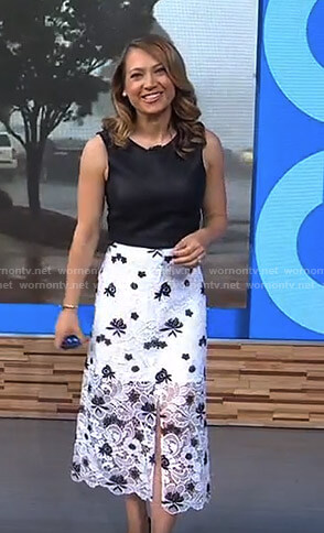 Ginger's leather top and white lace skirt on Good Morning America