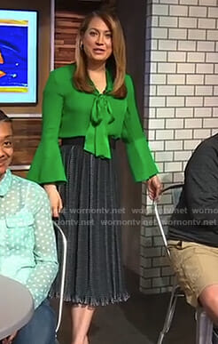 Ginger's green bell sleeve blouse and midi skirt on Good Morning America